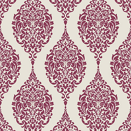 Image for Home of Colour Damask Stripe Wallpaper - Red and White from StoreName