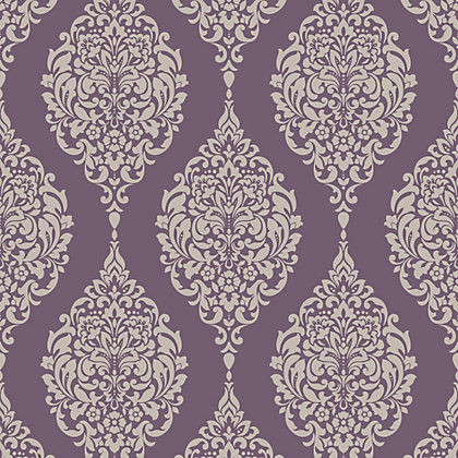 Image for Home of Colour Damask Stripe Wallpaper - Plum from StoreName