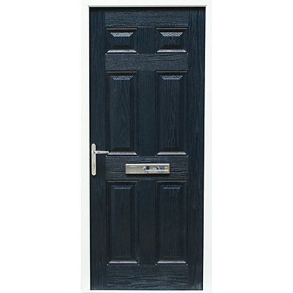 Image for Regency 6 Panel Composite Blue Right Hand Hung Doorset - 920mm Wide from StoreName