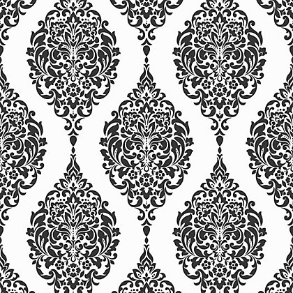 Image for Home of Colour Damask Stripe Wallpaper - Black and White from StoreName