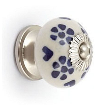 Image for Blue Flower and Silver Effect Ceramic Ball Cabinet Door Knob from StoreName