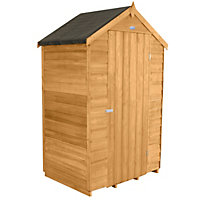 Forest Golden Brown Overlap Apex Dip Treated Wooden Shed - 4x3ft