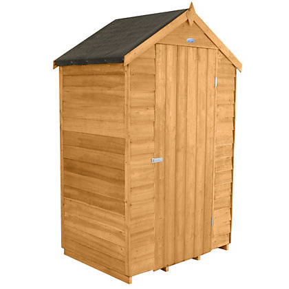 Image for Forest Golden Brown Overlap Apex Dip Treated Wooden Shed - 4x3ft from StoreName