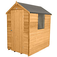 Forest Golden Brown Overlap Apex Wooden Shed -  4x6ft