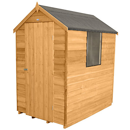 Image for Forest Golden Brown Overlap Apex Wooden Shed -  4x6ft from StoreName
