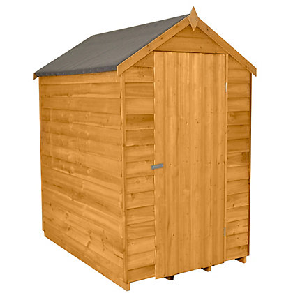 Image for Forest Golden Brown Overlap Apex Dip Treated Wooden Shed - 4x6ft from StoreName