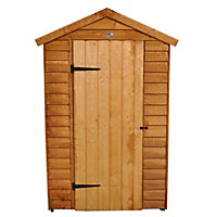 Forest Golden Brown Overlap Apex Wooden Shed with Easyfit Roof - 4x6ft