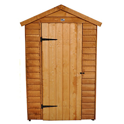 Image for Forest Golden Brown Overlap Apex Wooden Shed with Easyfit Roof - 4x6ft from StoreName