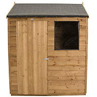 Forest Golden Brown Overlap Reverse Apex Wooden Shed - 6x4ft