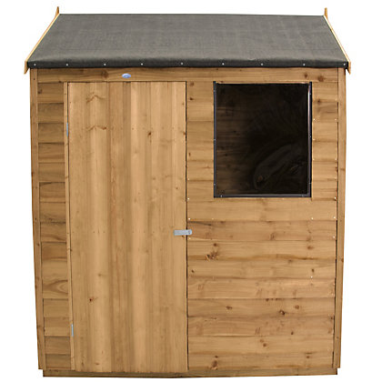 Image for Forest Golden Brown Overlap Reverse Apex Wooden Shed - 6x4ft from StoreName