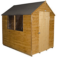 Forest Golden Brown Overlap Apex Wooden Shed (Single Door) - 5x7ft