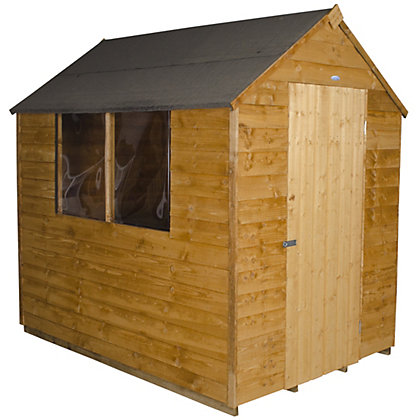 Image for Forest Golden Brown Overlap Apex Wooden Shed (Single Door) - 5x7ft from StoreName