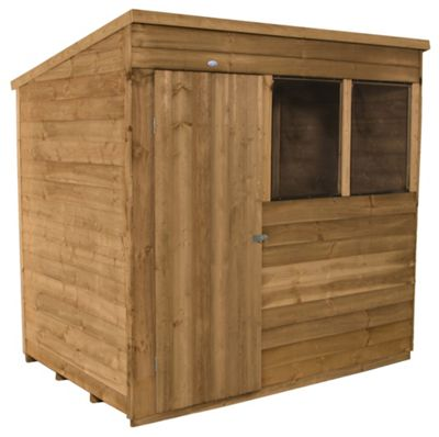 Forest Golden Brown Overlap Pent Dip Treated Wooden Shed - 7x5ft