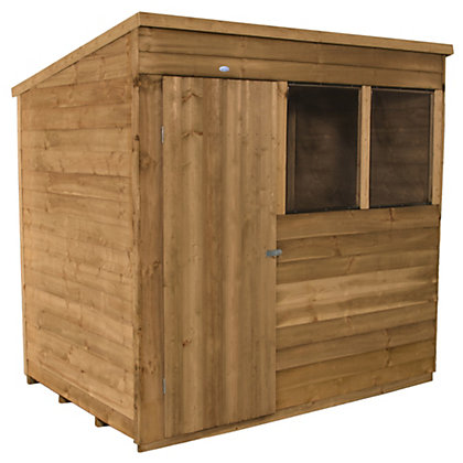 Image for Forest Golden Brown Overlap Pent Dip Treated Wooden Shed - 7x5ft from StoreName