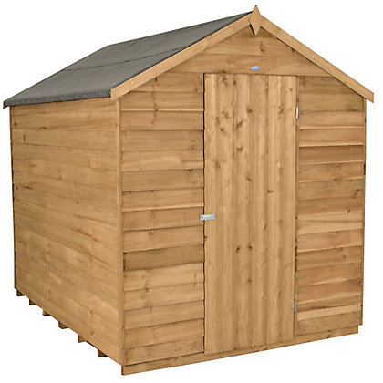 Image for Forest Honey Brown Overlap Apex Dip Treated Wooden Shed - 6x8ft from StoreName