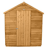 Forest Honey Brown Overlap Apex Dip Treated Wooden Shed (Single Door) - 6x8ft