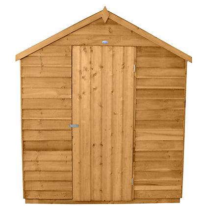 Image for Forest Honey Brown Overlap Apex Dip Treated Wooden Shed (Single Door) - 6x8ft from StoreName