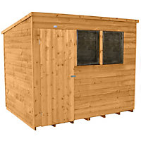 Forest Honey Brown Overlap Pent Dip Treated Wooden Shed - 8x6ft