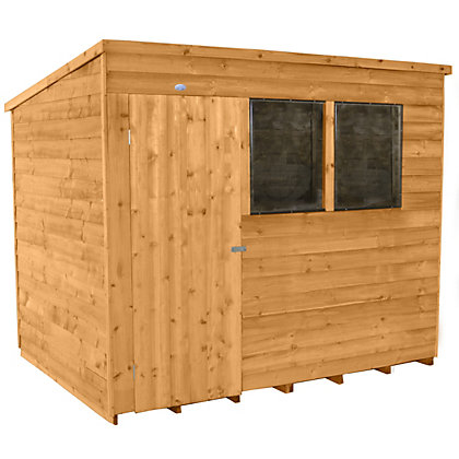 Image for Forest Honey Brown Overlap Pent Dip Treated Wooden Shed - 8x6ft from StoreName