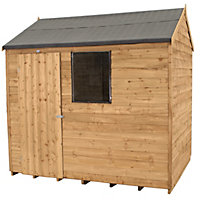Forest Honey Brown Overlap Reverse Apex Wooden Shed - 6x8ft