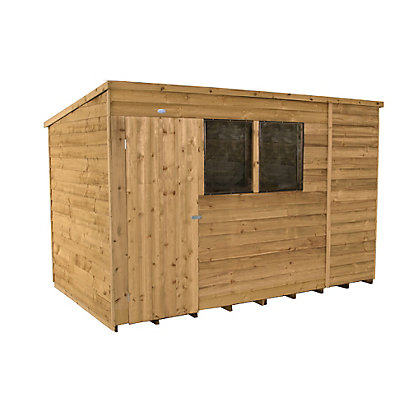 Image for Forest Honey Brown Overlap Pent Dip Treated Wooden Shed - 10x6ft from StoreName