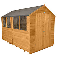 Forest Honey Brown Overlap Apex Wooden Shed - 8x10ft