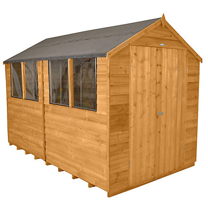 Image for Forest Honey Brown Overlap Apex Wooden Shed - 8x10ft from StoreName
