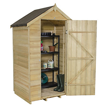 Image for Forest Natural Timber Overlap Apex Pressure Treated Wooden Shed - 4x3ft from StoreName