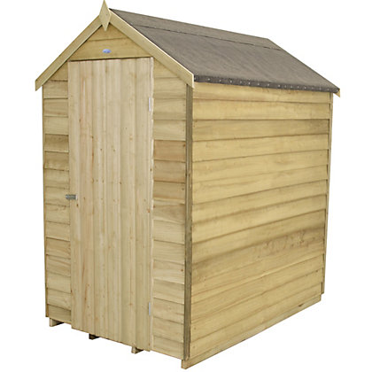 Image for Forest Natural Timber Overlap Apex Pressure Treated Wooden Shed - 4x6ft from StoreName