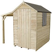 Forest Natural Timber Overlap Apex Pressure Treated Wooden Shed with Lean To - 4x6ft