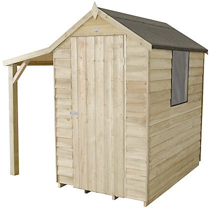 Image for Forest Natural Timber Overlap Apex Pressure Treated Wooden Shed with Lean To - 4x6ft from StoreName