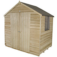 Forest Natural Timber Overlap Apex Pressure Treated Wooden Shed - 7x5ft