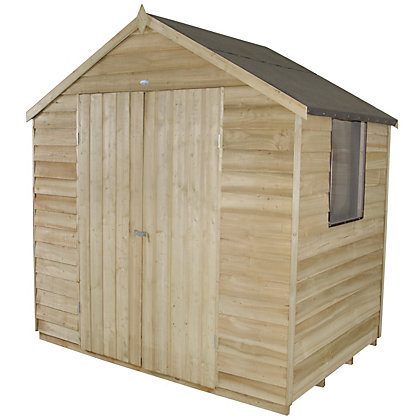 Image for Forest Natural Timber Overlap Apex Pressure Treated Wooden Shed - 7x5ft from StoreName