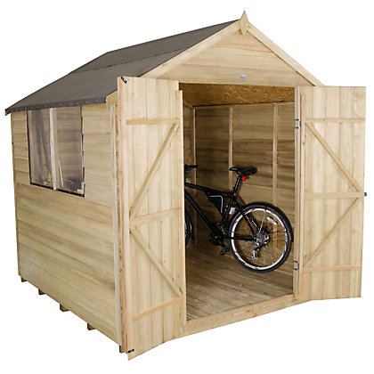 Image for Forest Natural Timber Overlap Apex Pressure Treated Wooden Shed - 7x7ft from StoreName