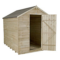Forest Natural Timber Overlap Apex Pressure Treated Wooden Shed - 6x8ft