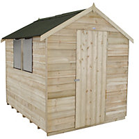 Forest Natural Timber Overlap Apex Wooden Shed (Single Door) - 6x8ft