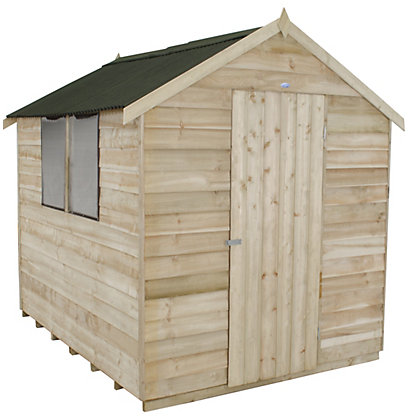 Image for Forest Natural Timber Overlap Apex Wooden Shed (Single Door) - 6x8ft from StoreName