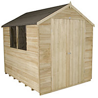 Forest Natural Timber Overlap Apex Pressure Treated Wooden Shed (Double Doors) - 6x8ft