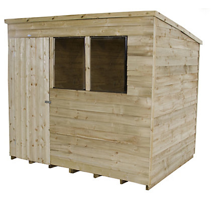 Image for Forest Natural Timber Overlap Pent Pressure Treated Wooden Shed - 8x6ft from StoreName