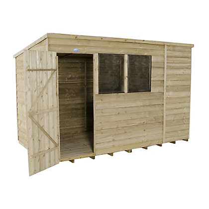 Image for Forest Natural Timber Overlap Pent Pressure Treated Wooden Shed - 10x6ft from StoreName