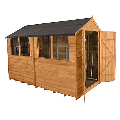 Image for Forest Golden Brown Overlap Apex Wooden Shed - 6x10ft from StoreName
