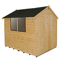 Forest Light Brown Shiplap Apex Wooden Shed - 6x8ft