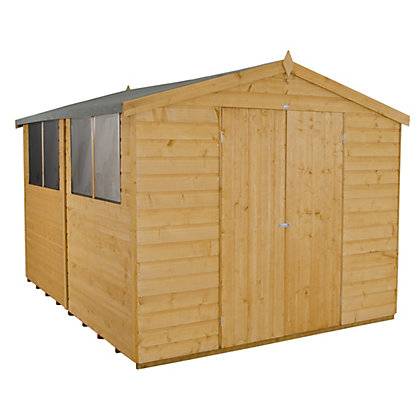 Image for Forest Light Brown Shiplap Apex Wooden Shed - 8x10ft from StoreName