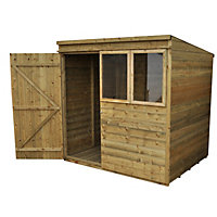 Forest Natural Timber Tongue & Groove Pent Wooden Shed with Front Windows - 7x5ft