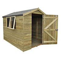 Forest Natural Timber Tongue & Groove Apex Wooden Shed - 6x8ft