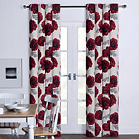 Poppy Floral Print Eyelet Curtains - 66 x 54in