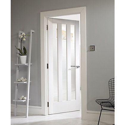Image for Aston 3 Lite Glazed Primed Solid Internal Door - 838mm Wide from StoreName