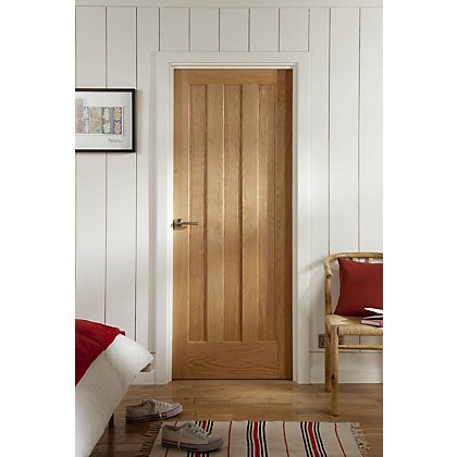 Image for Aston 3 Panel White Oak Veneer Internal Door - 762mm Wide from StoreName