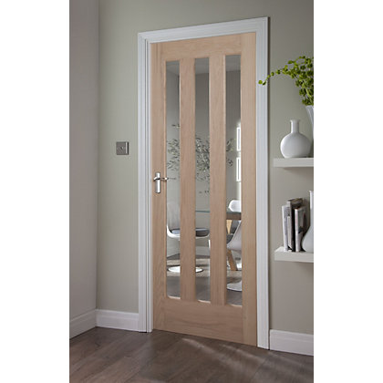 Image for Aston Clear 3 Light White Oak Veneer Internal Door - 762mm Wide from StoreName