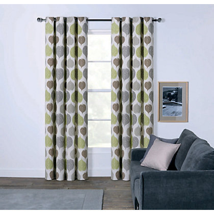 Image for Sopers Leaves Eyelet Curtains - 90 x 90in from StoreName